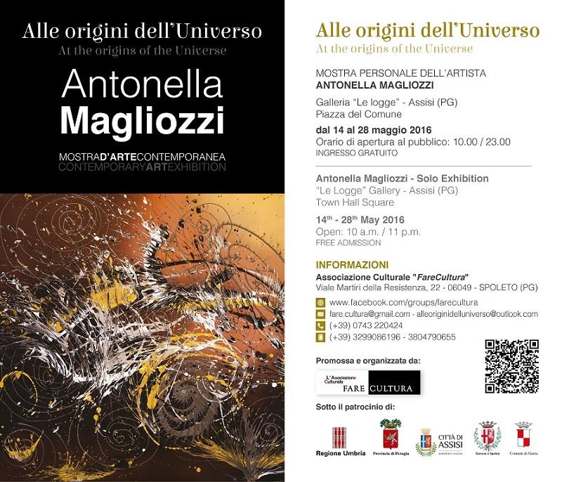 Manifesto Alle origini dell%27Universo - Personale di Antonella Magliozzi - Assisi%2c maggio 2016